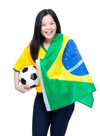 Asian female football supporter Stock Photo - 28177811