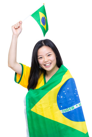 Asian woman with Brazil flag photo