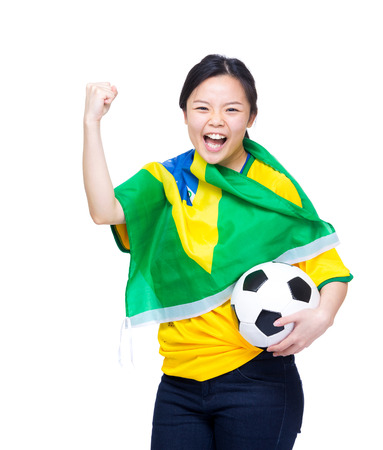 Asian excited happy soccer fans photo