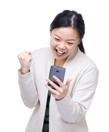 Asia woman got surprise message from mobile photo