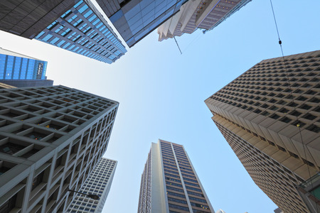 directly below: Downtown district in Tokyo city Stock Photo