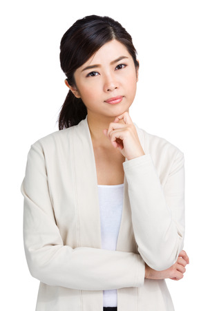 Asian woman thinking