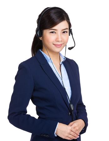 Steun telefoon operator in headset Stockfoto