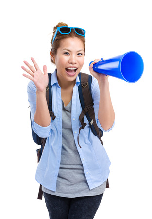 Female travel with megaphone photo