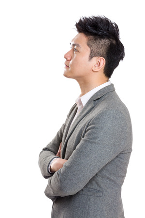looking to side: Asia businessman side profile