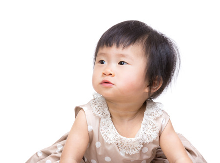 to other side: Baby girl looking at other side Stock Photo