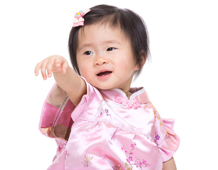 babby: Chinese babby girl hand up and point to front