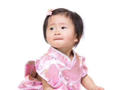 the other side: Chinese baby girl looking at other side