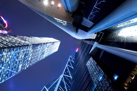 highriser: Hong Kong at night, view from below