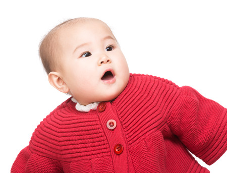 no teeth smile: Baby feeling surprise Stock Photo