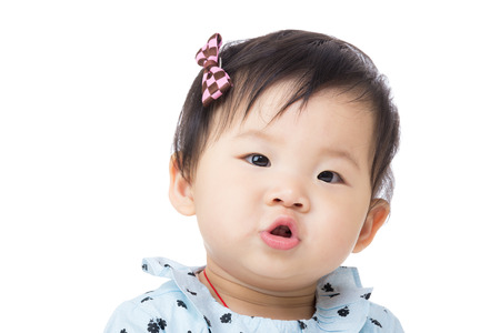 pout: Asia baby girl pout lip Stock Photo