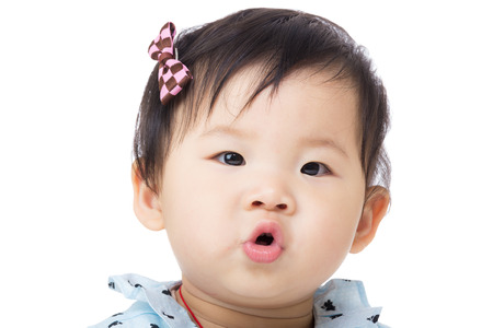 pout: Asian baby girl pout lip Stock Photo