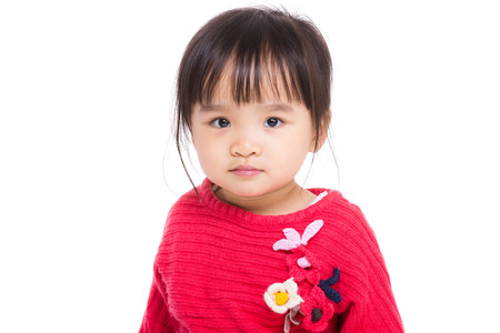 six months: East Asian baby girl on white background Stock Photo