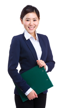 Business woman holdinga clipboard photo