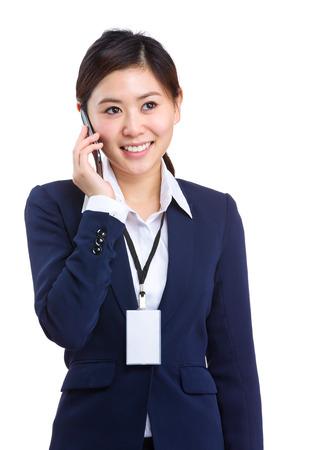 Businesswoman talking to cellphone photo