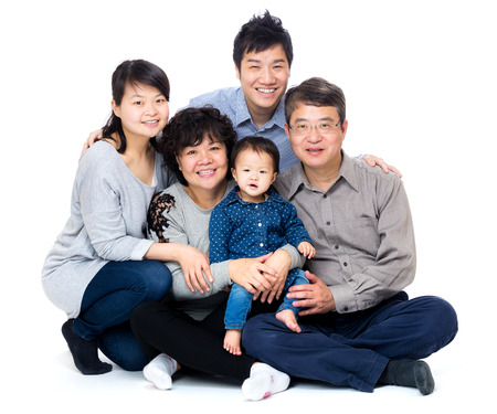 3 generation: Three generation asian family Stock Photo