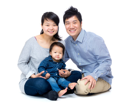 Asian family with baby daughter photo