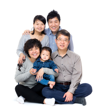 Happy asian three generation family photo
