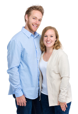 Young couple in casual clothing photo