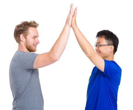 Man give high five for each other photo