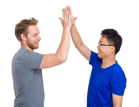 high five: Man giving high five