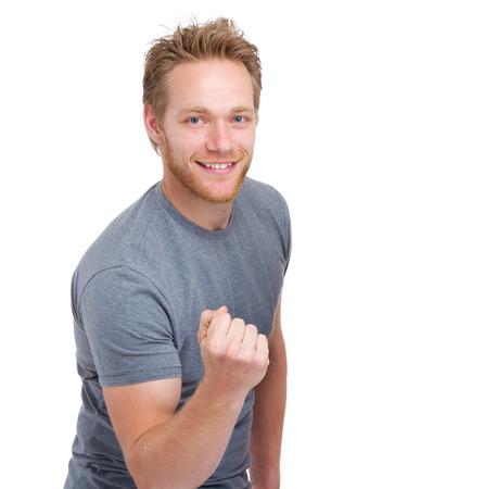 Caucasian man cheer up photo