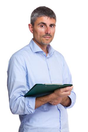 Caucasian man holding clipboard photo