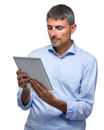 Man using digital tablet photo
