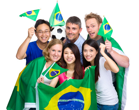 Group of soccer fans from different country  photo
