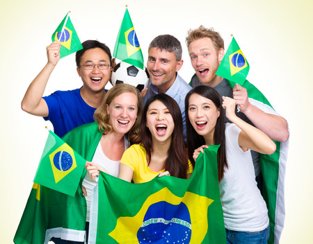Brasilian Supporter with different ethnicities photo