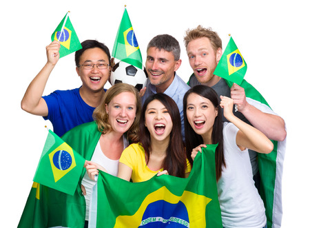 Group of happy soccer fans photo