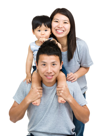 group of babies: Asian family, baby son and young couple Stock Photo