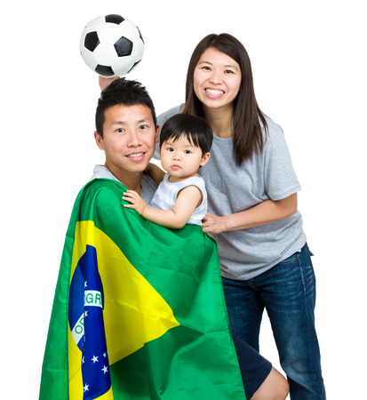 Family of Brazilian soccer fans photo