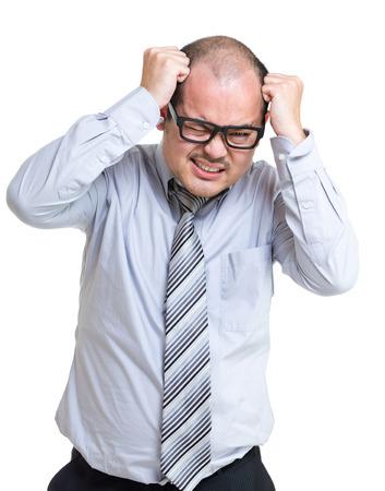 Businessman scratch head photo