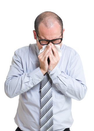 Asian businessman sneeze photo