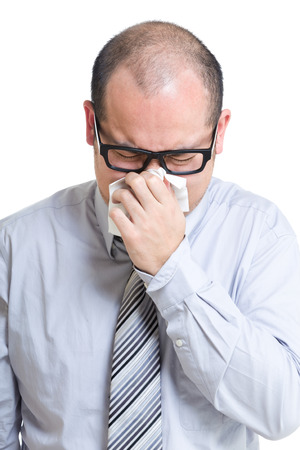 Asian businessman runny nose photo