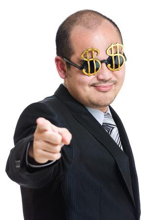 millonario: Millionaire apuntando hacia delante