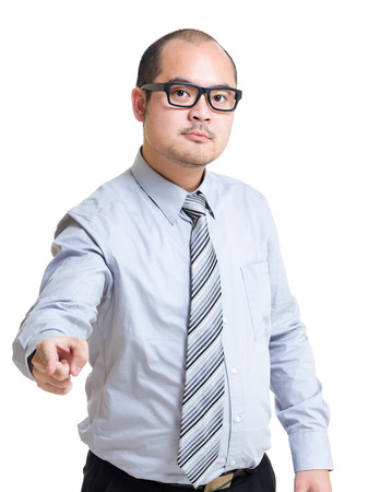 Angry businessman point to front photo