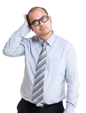 Businessman hard to make decision photo