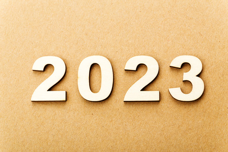 Wooden text for year 2023 photo