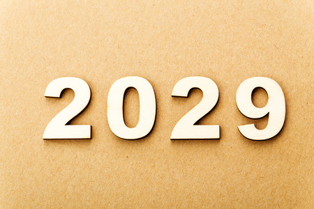 Wooden text for year 2029 photo
