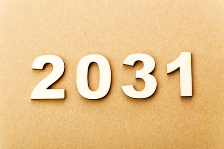 Wooden text for year 2031 photo