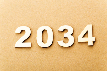 Wooden text for year 2034 photo