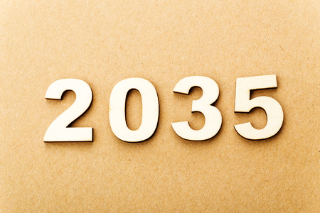 Wooden text for year 2035 photo
