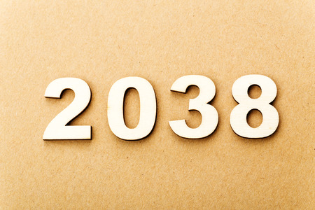 Wooden text for year 2038 photo