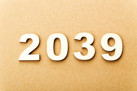 Wooden text for year 2039 photo