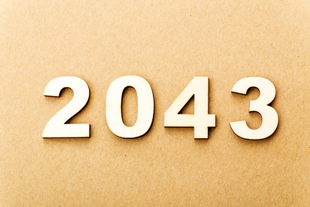 Wooden text for year 2043 photo