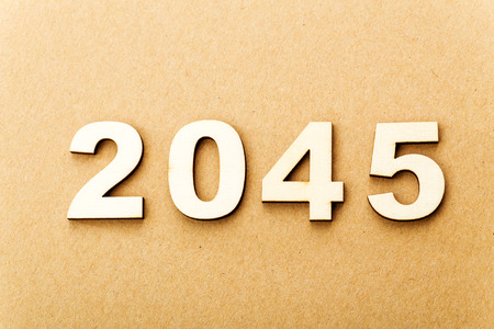 Wooden text for year 2045 photo