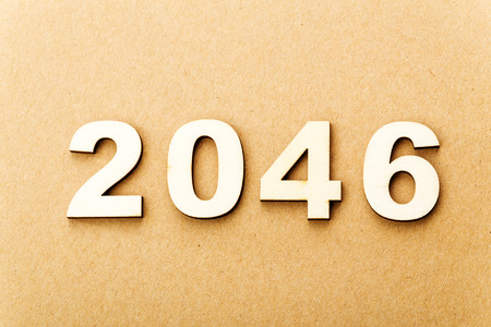 Wooden text for year 2046 photo