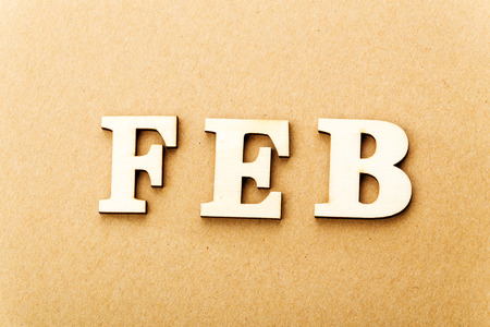 Wooden text for February photo